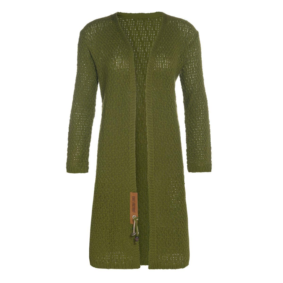 luna long knitted cardigan moss green 3638