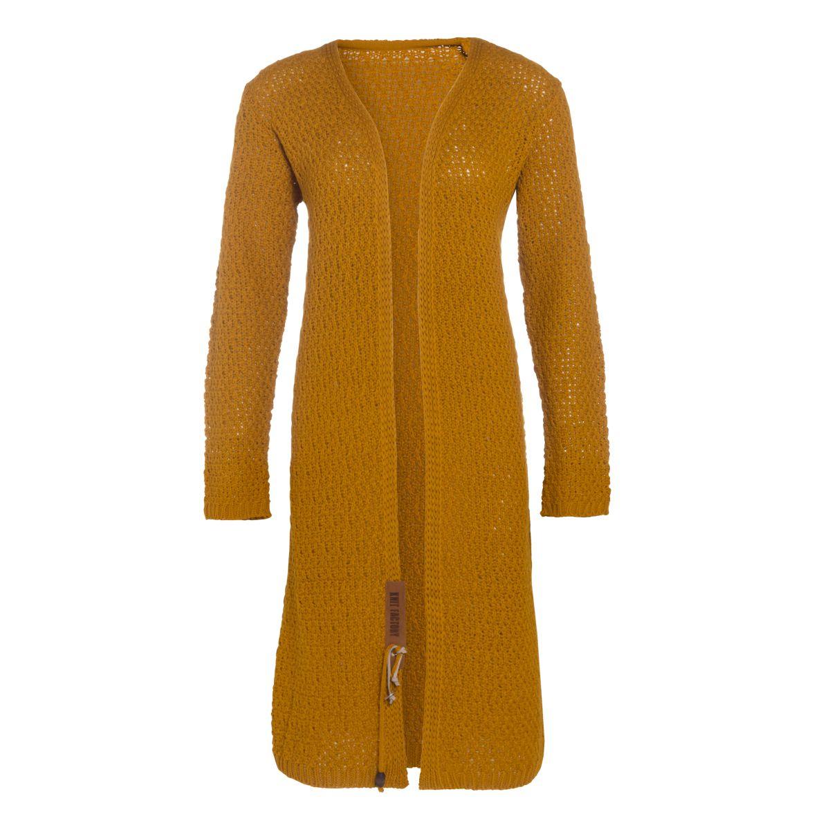 luna long knitted cardigan ochre 3638