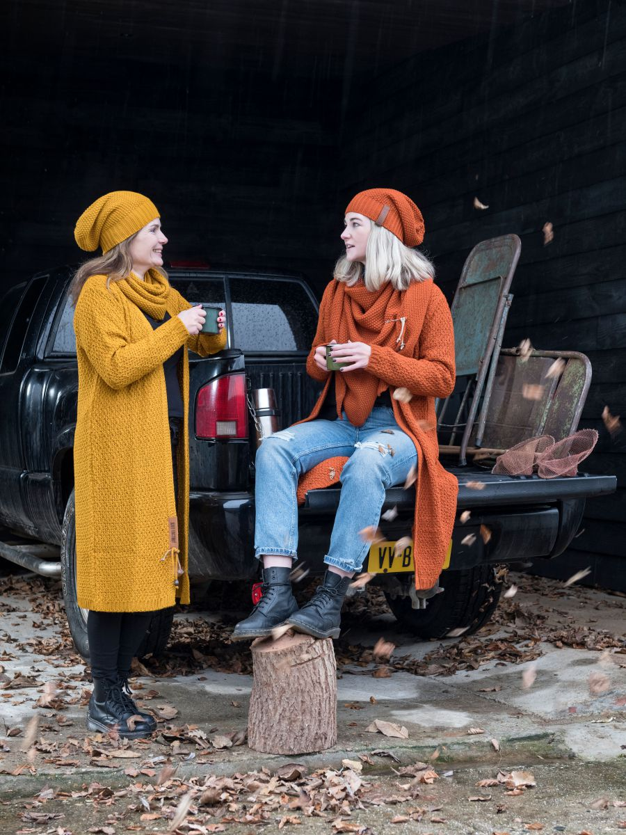 luna long knitted cardigan ochre 4042