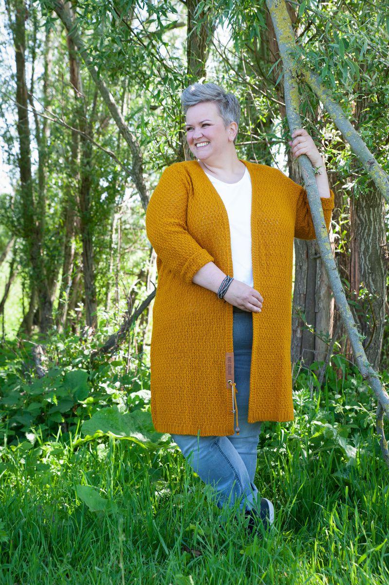 luna long knitted cardigan ochre 4648