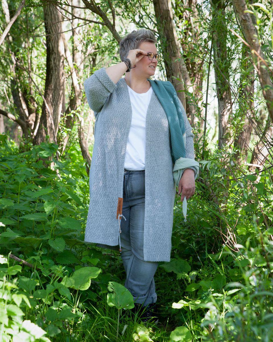 luna long knitted cardigan petrol 4648