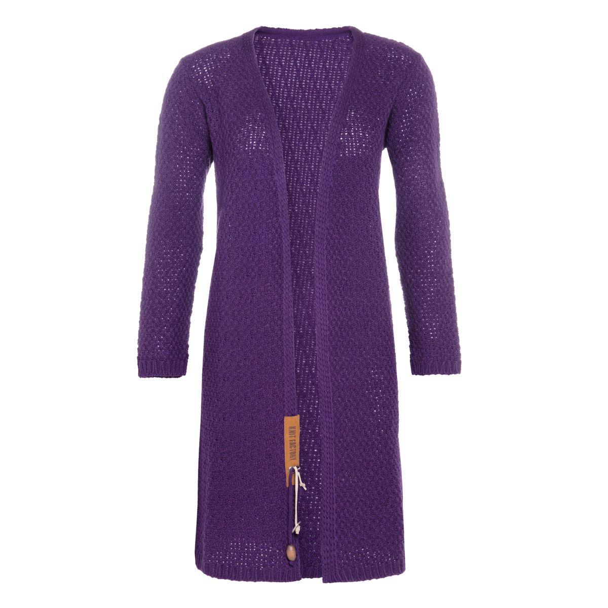 luna long knitted cardigan purple 3638