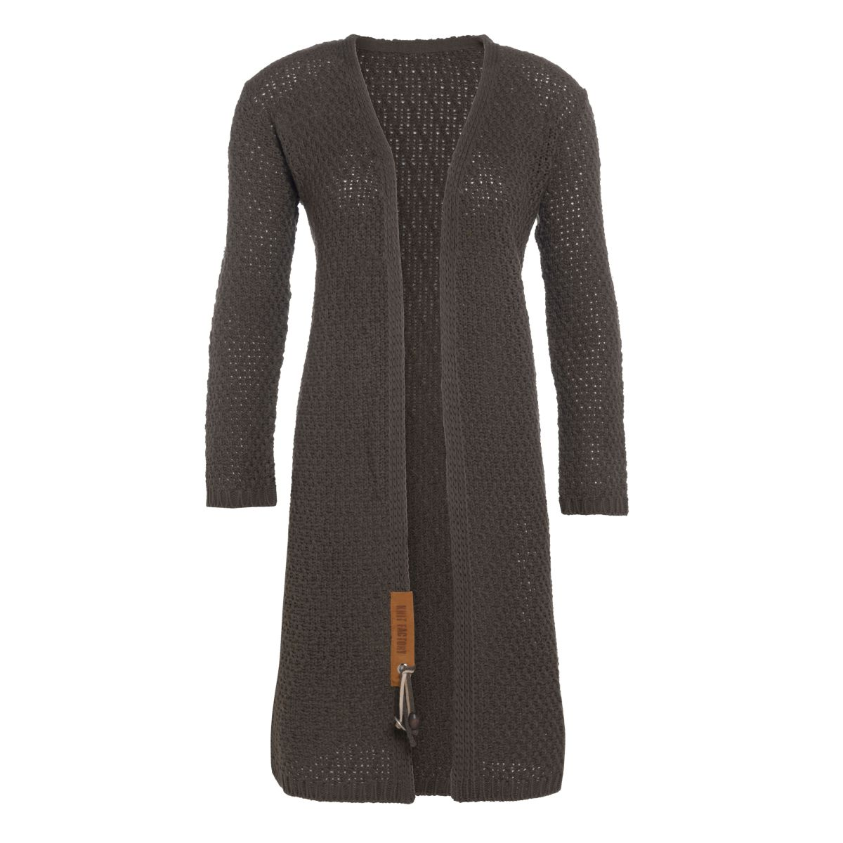 luna long knitted cardigan taupe 4042