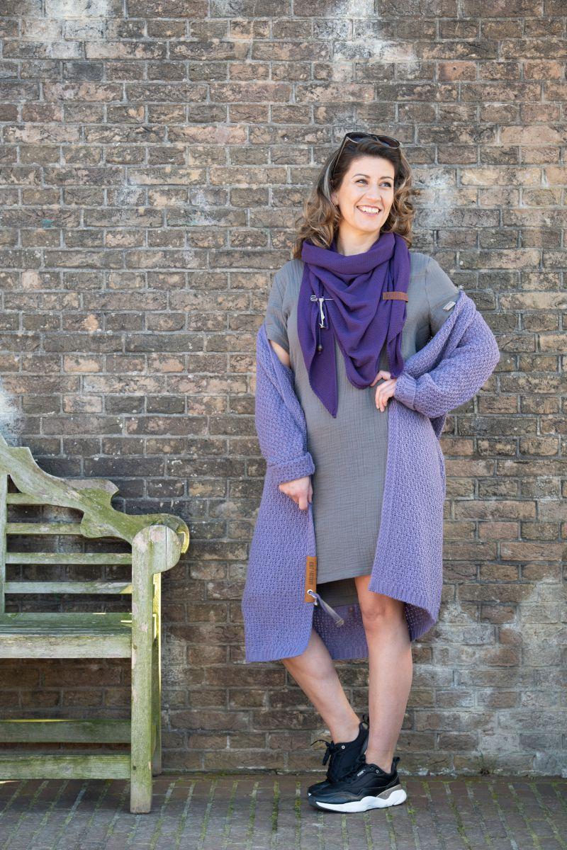 luna long knitted cardigan violet 4042