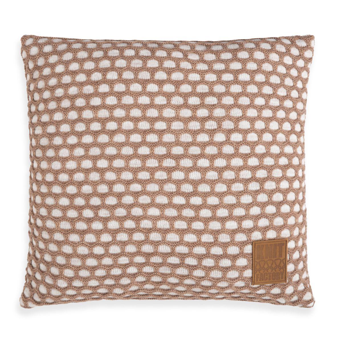 knit factory 1081252 kussen 50x50 mila beige marron 1