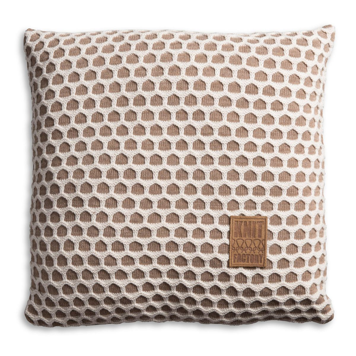 knit factory 1081253 kussen 50x50 mila marron beige 1