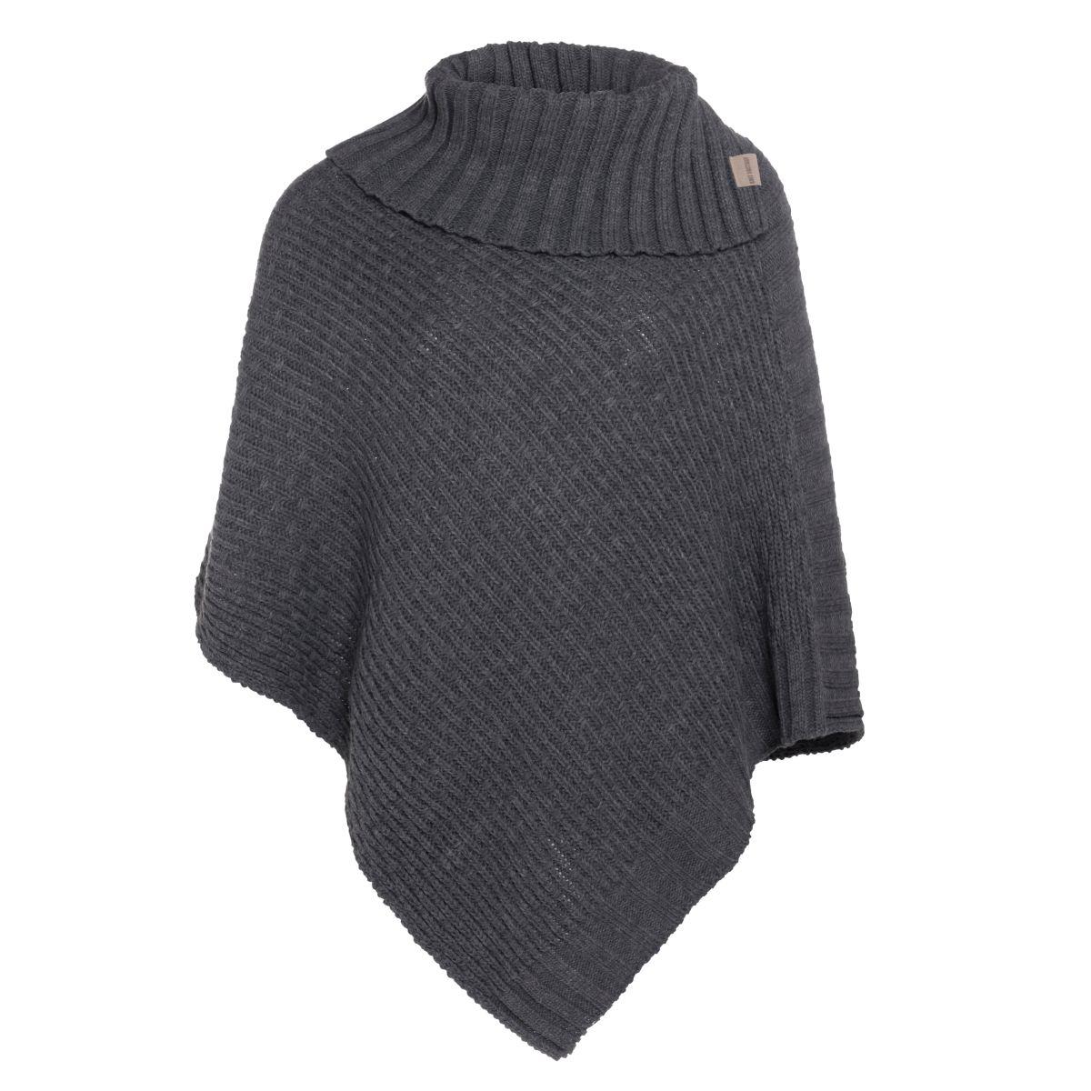 knit factory kf14806201050 nicky gebreide poncho antraciet 1