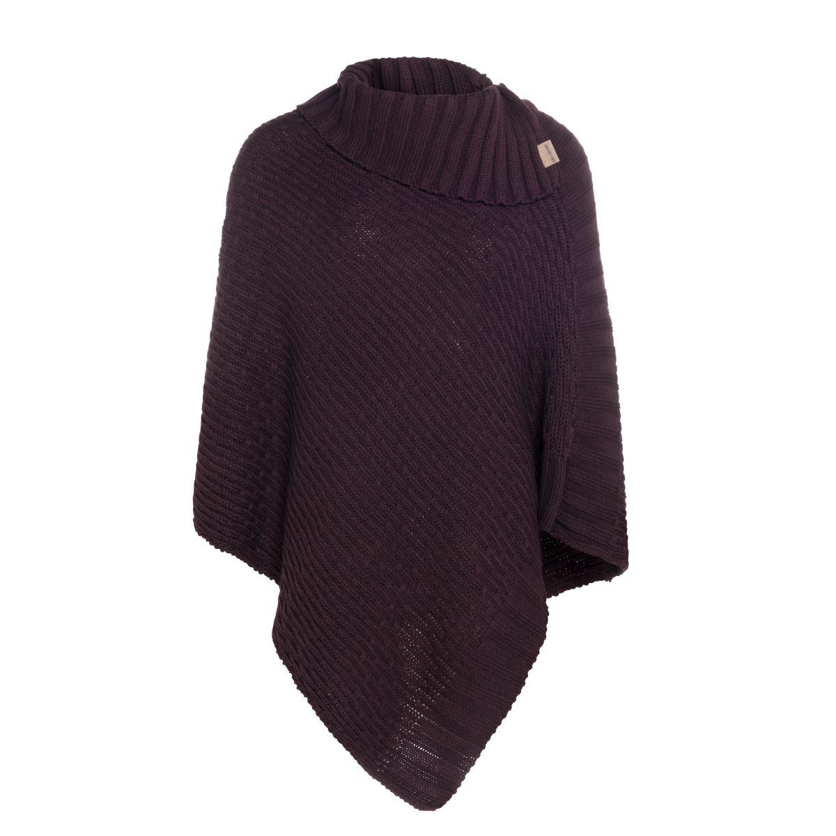 knit factory kf14806202350 nicky gebreide poncho aubergine 1
