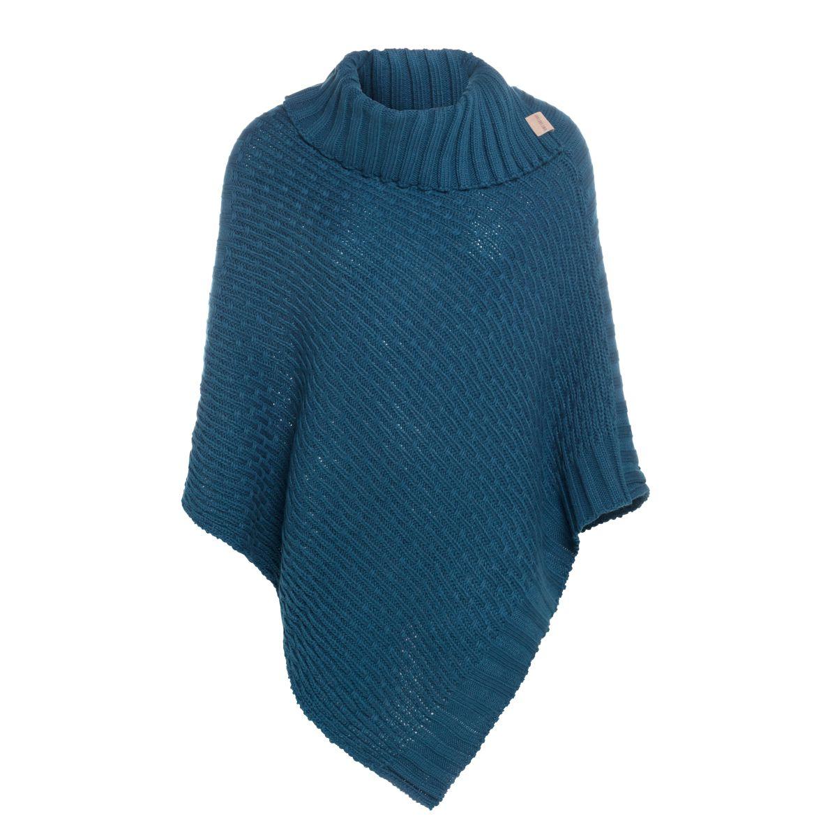 knit factory kf14806200850 nicky gebreide poncho petrol 1