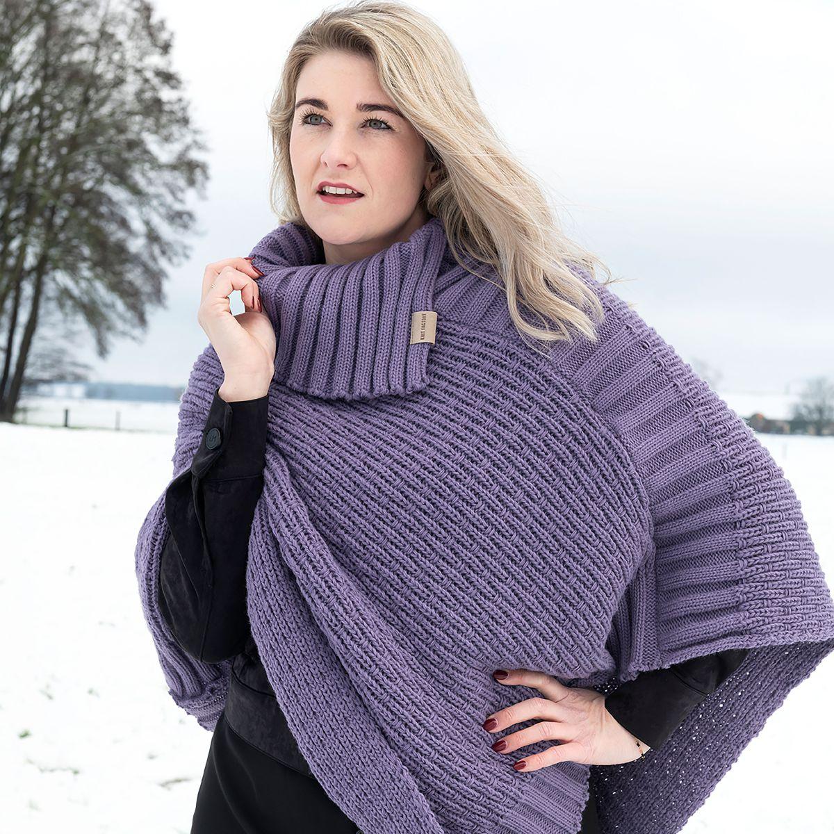 knit factory kf14806204350 nicky gebreide poncho violet 3