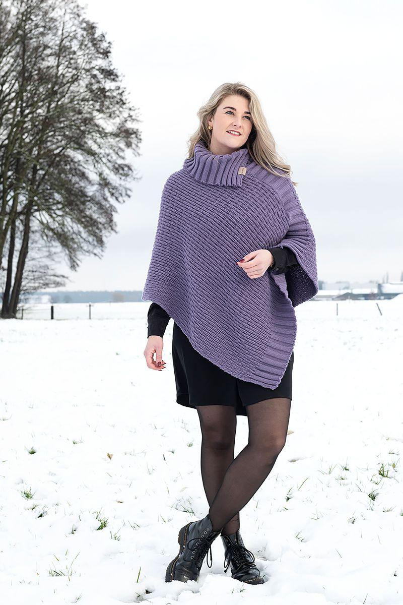 knit factory kf14806204350 nicky gebreide poncho violet 4