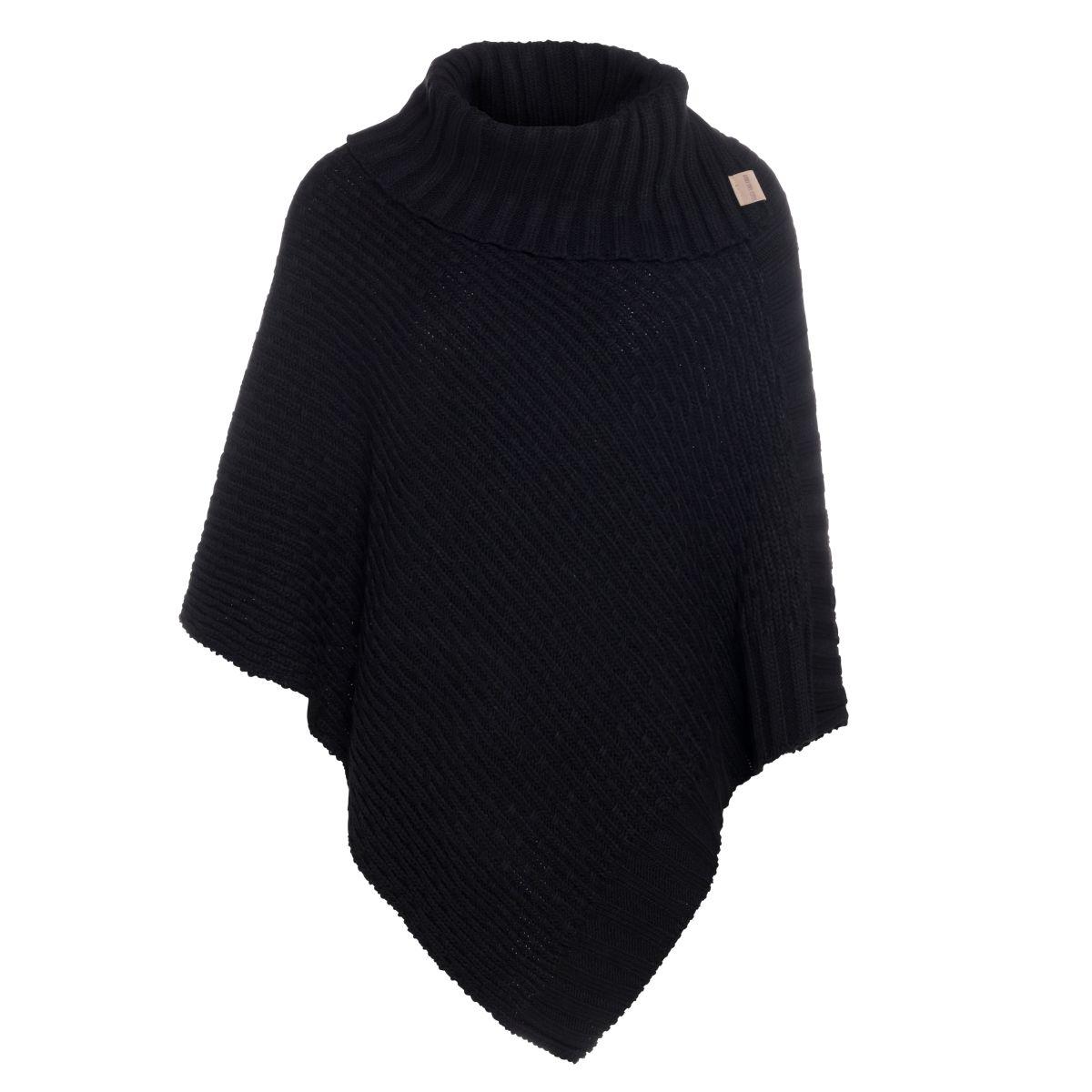knit factory kf14806200050 nicky gebreide poncho zwart 1