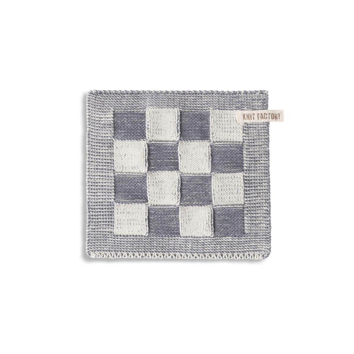 knit factory 2010379 pannenlap grote blok 2 kleuren ecru med grey