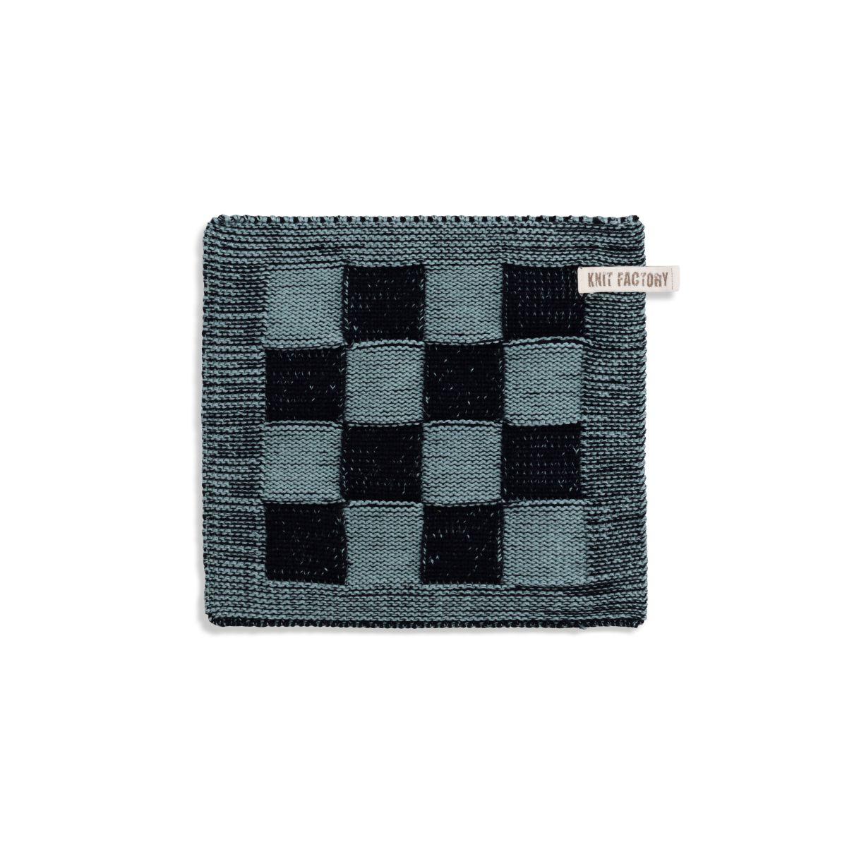 knit factory 2010340 pannenlap grote blok 2 kleuren zwart stone green