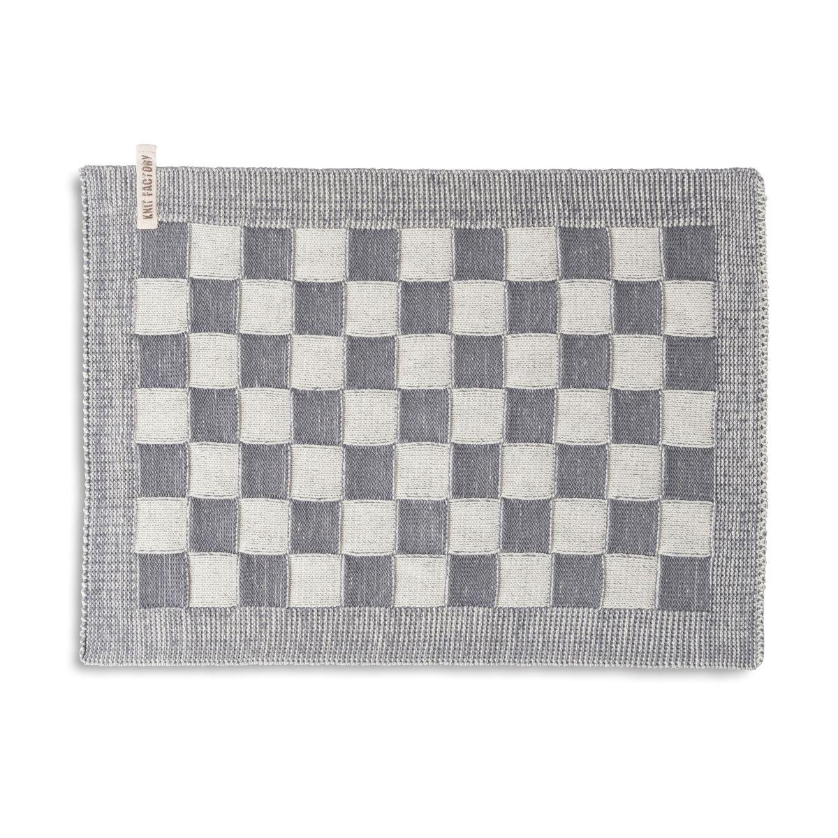 placemat block ecru med grey