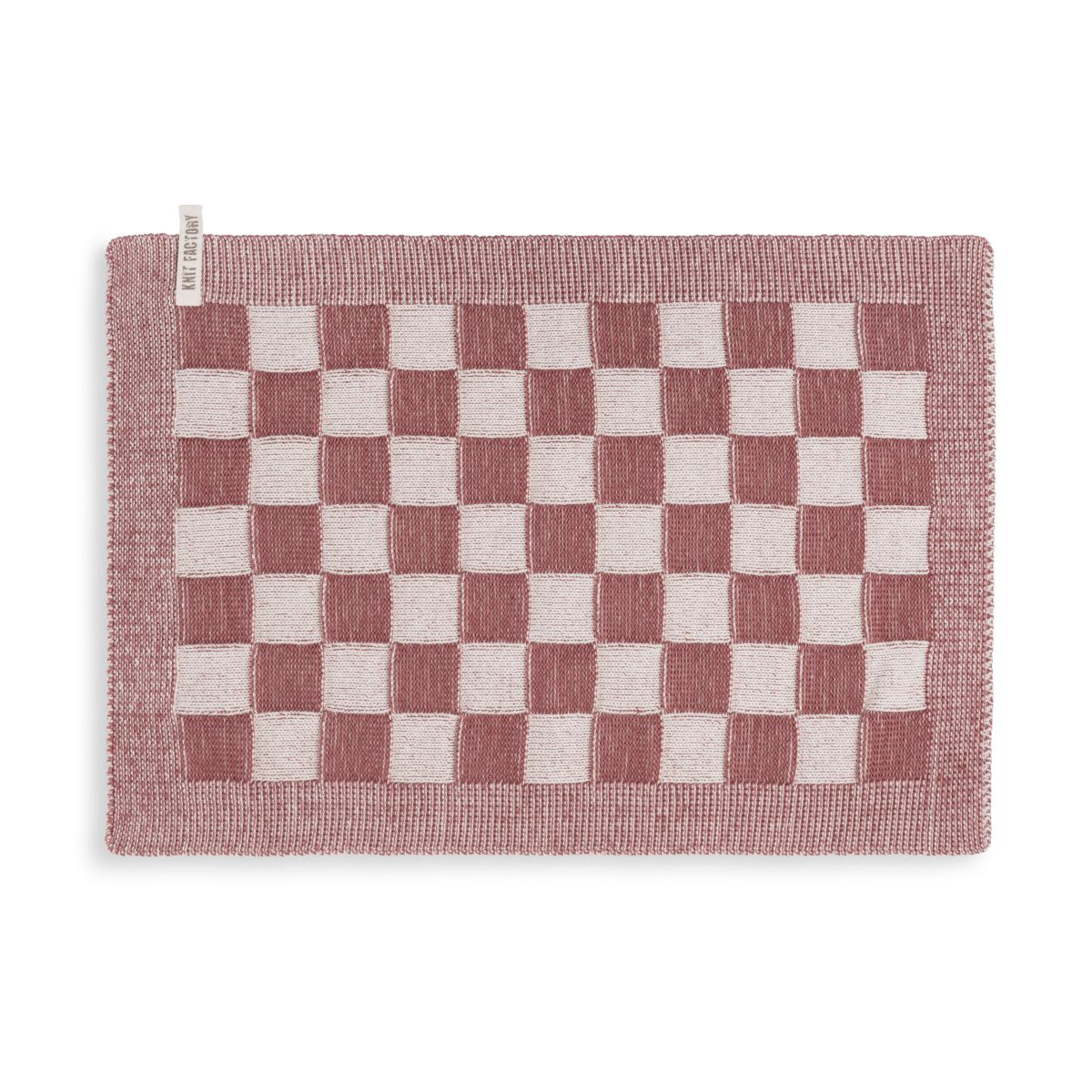 knit factory kf20120228850 placemat block ecru stone red 1