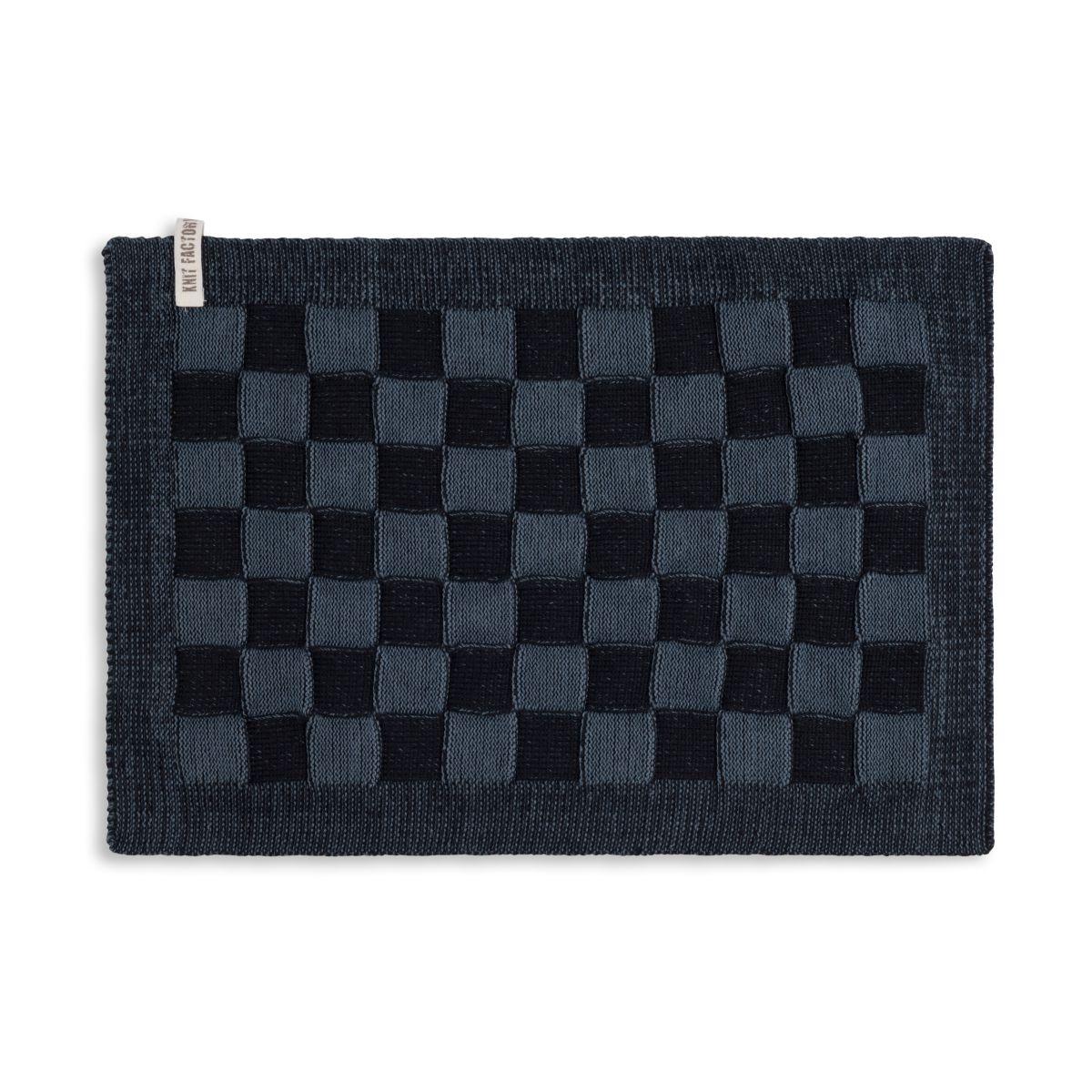 knit factory 2010268 placemat grote blok 2 kleuren zwart granit