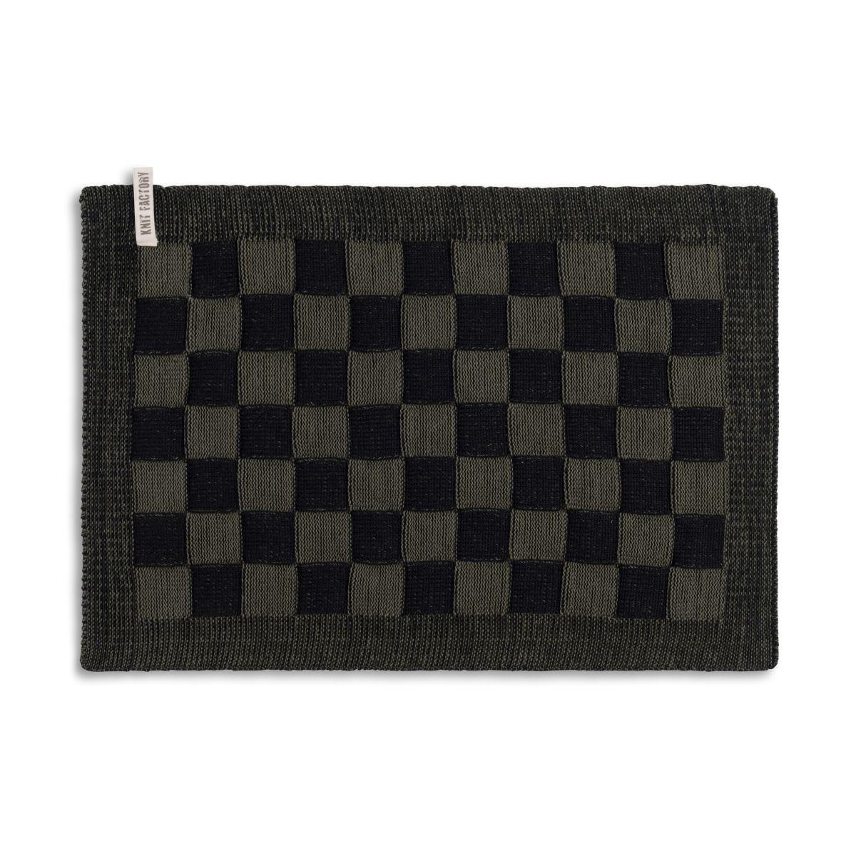 knit factory 2010263 placemat grote blok 2 kleuren zwart khaki
