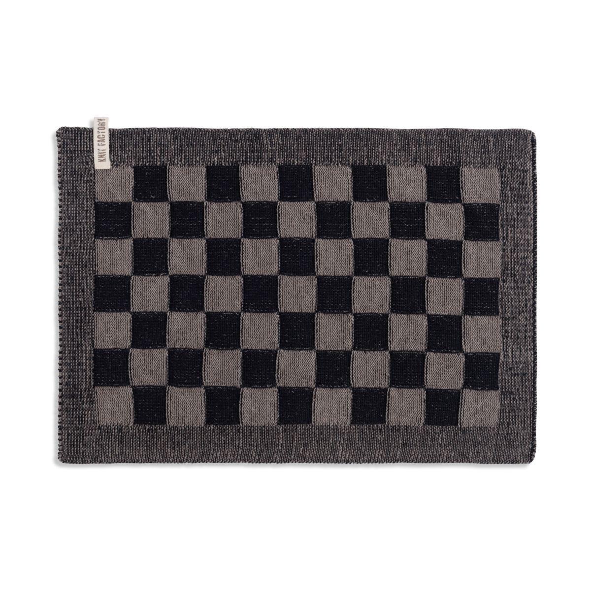 knit factory 2010239 placemat grote blok 2 kleuren zwart taupe