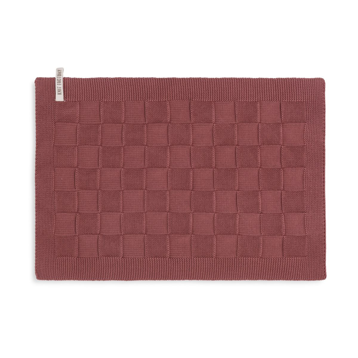 knit factory kf20020203850 placemat uni stone red 1