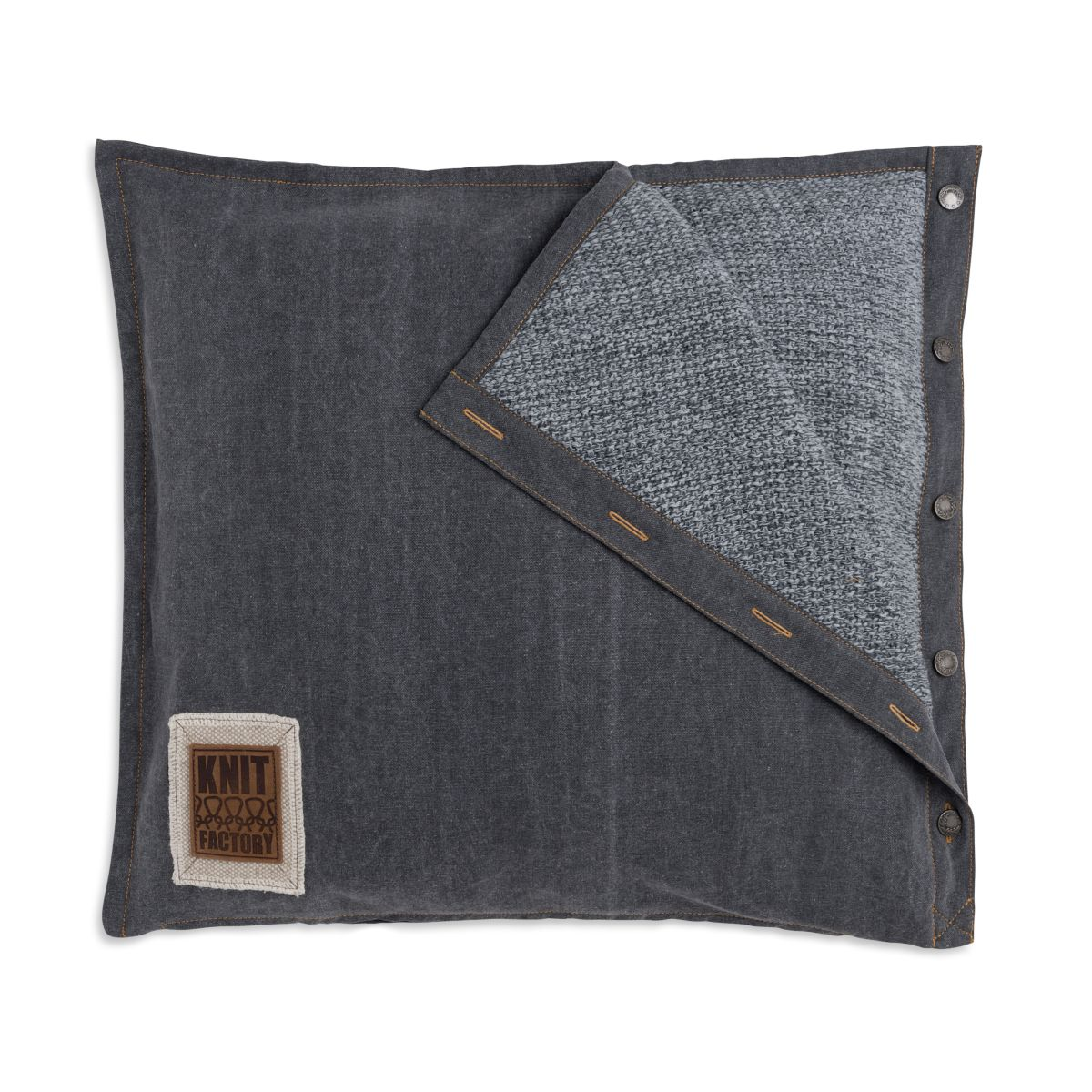 knit factory 1321251 rick kussen 50x50 grijs antraciet 1