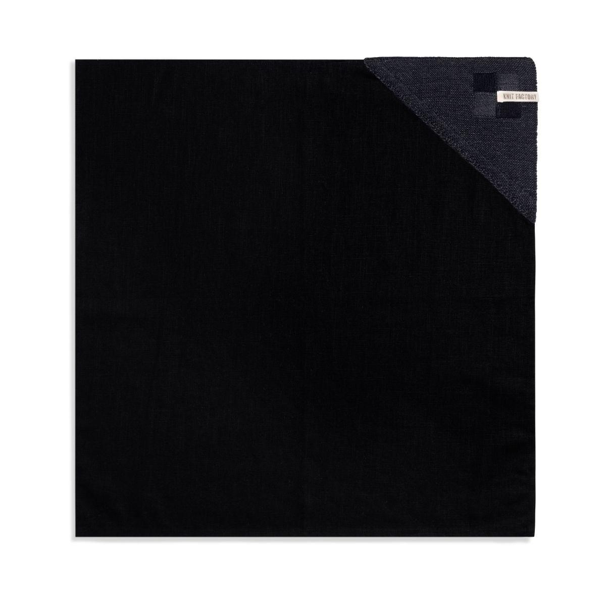 knit factory 2010160 theedoek grote blok 2 kleuren zwart antraciet 1