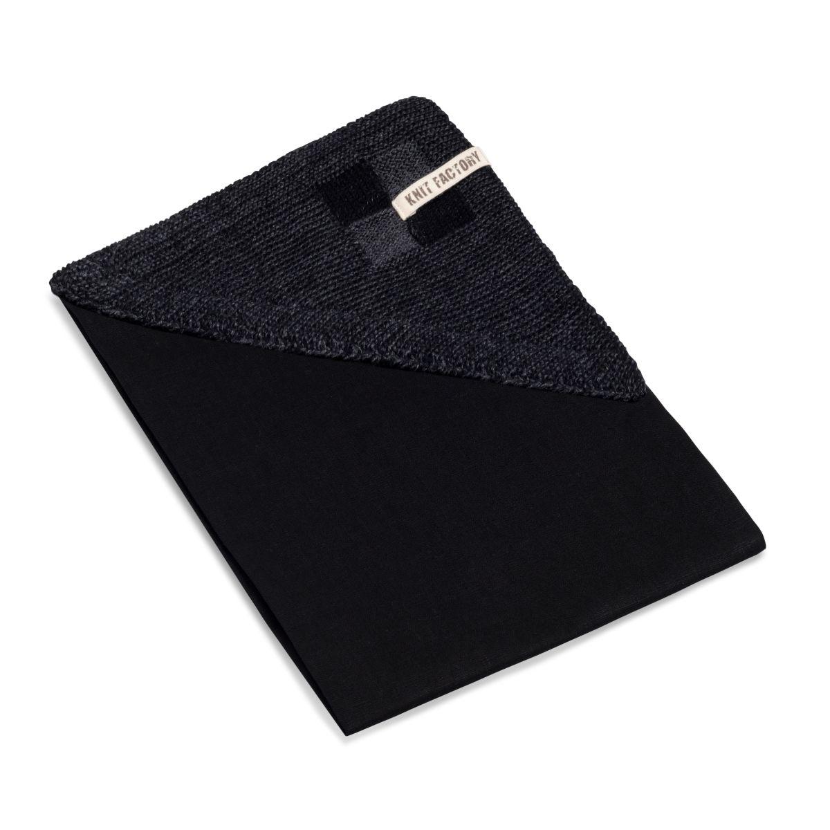 knit factory 2010160 theedoek grote blok 2 kleuren zwart antraciet 2