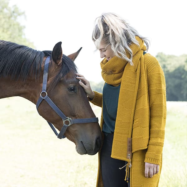 Knit Factory Sol cardigan and scarf ochre